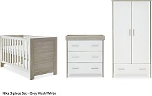Obaby Nika 3 Piece Room Set - Grey Wash and White