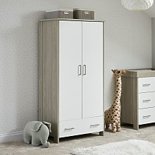 Obaby Nika Double Wardrobe - Grey Wash and White