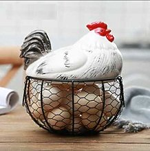 obbrt Ceramic Egg Holder Chicken Wire Egg Basket