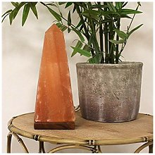 Obelisk Himalayan Salt Lamp with Wooden Base