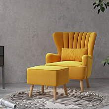 Occasion Suede Wingback Armchair And Footstool,