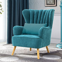 Occasion Suede Wingback Armchair With Cushion, Blue