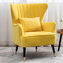 Occasion Velvet Wingback Armchair With Cushion,