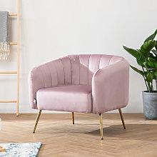 Occasional Scalloped Velvet Armchair Sofa, Dusky