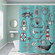 Ocean bathroom shower curtain with 12 Hooks-for