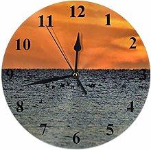 Ocean Clock Sea Water Seagull Birds at Sunset