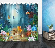 Ocean Fish And Plants Shower Curtain Set