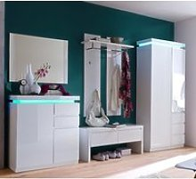 Ocean LED Hallway Furniture Set In High Gloss White