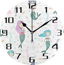 Ocean Sea Animal Mermaid Wall Clock Silent Non