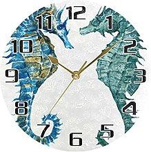 Ocean Sea Seahorse Vintage Wall Clock Silent Non