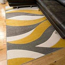 Ochre Grey Modern Stripe Wave Pattern Living Room