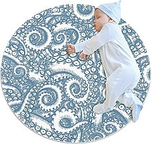 Octopus, Kids Round Rug Polyester Throw Area Rug