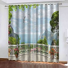 ODSGEK Curtains For Bedroom Eyelet Blackout