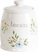 Off White Ceramic Vintage Floral Biscuit Storage