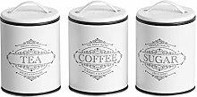 Off White Metal Tea Coffee Sugar Storage Canisters