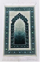OFF WHITE/TORQUISE Beautiful Turkish Prayer Mat
