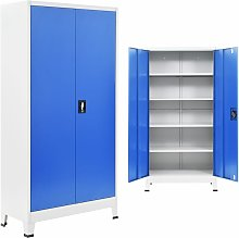 Office Cabinet Metal 90x40x180 cm Grey and Blue
