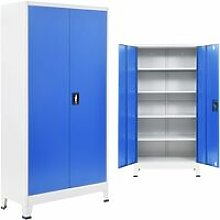 Office Cabinet Metal Grey and Blue 90x40x180 cm