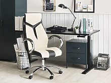 Office Chair Beige and Black Faux Leather Swivel