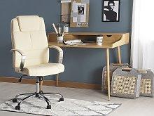Office Chair Beige Faux Leather Swivel Adjustable