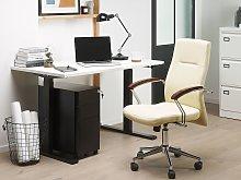 Office Chair Beige Faux Leather Swivel Gas Lift