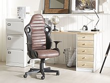 Office Chair Black with Brown Faux Leather Swivel