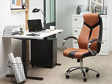 Office Chair Brown and Black Faux Leather Swivel