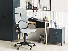 Office Chair Grey and Black Fabric Swivel Desk