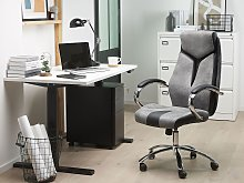 Office Chair Grey and Black Faux Leather Swivel