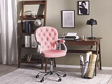 Office Chair Pink Faux Leather Gas Lift Height