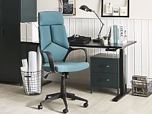 Office Chair Teal Blue and Black Fabric Swivel