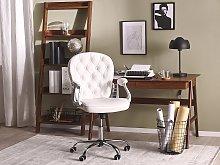 Office Chair White Faux Leather Gas Lift Height