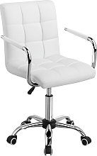 Office Chair White Faux Leather Swivel Computer