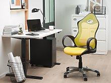 Office Chair Yellow Mesh Fabric Swivel Tilt
