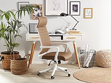 Office Desk Chair Brown Faux Leather Swivel Gas