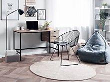 Office Desk Dark Wood and Black 120 x 48 cm 2