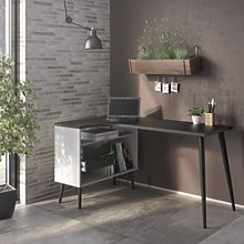 Office Desk in Black & White with 2 Drawers -