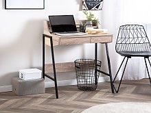 Office Desk Light Wood and Black 77 x 46 cm Shelf