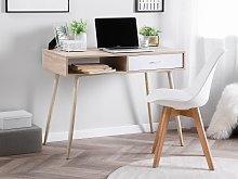 Office Desk Light Wood and White 100 x 48 cm