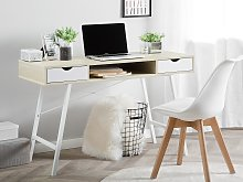 Office Desk Light Wood and White 120 x 48 cm 2