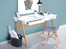 Office Desk White 120 x 75 cm Lacquered Top 2