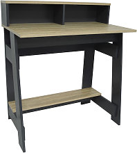 Office Desk With Two Cubbies And Shelf - Light Oak
