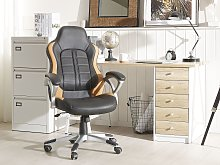 Office Executive Chair Black with Light Brown Faux