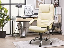 Office Heated Massage Chair Beige Faux Leather