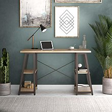 Office Hippo Chalked Oak Desk with Shelves, Office