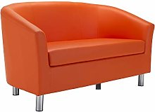 Office Hippo Tub Sofa, Chrome Legs, PU Leather,