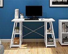 Office Hippo White Desk with Shelves, White