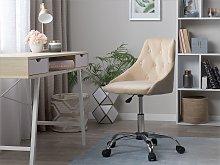 Office Swivel Chair Beige Velvet Height Adjustable