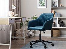 Office Swivel Chair Blue Velvet Height Adjustable