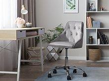 Office Swivel Chair Grey Velvet Height Adjustable